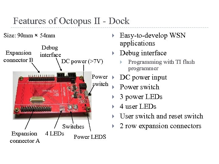 Features of Octopus II - Dock Size: 90 mm × 54 mm Expansion connector