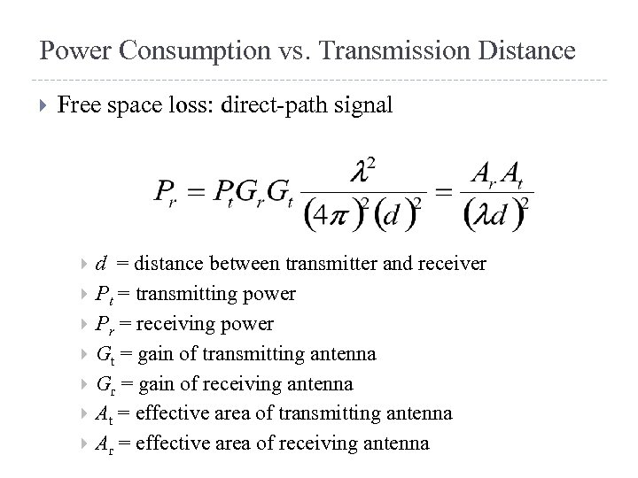 Power Consumption vs. Transmission Distance Free space loss: direct-path signal d = distance between
