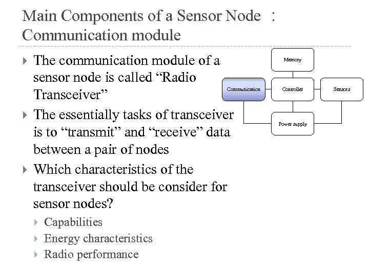 Main Components of a Sensor Node : Communication module The communication module of a