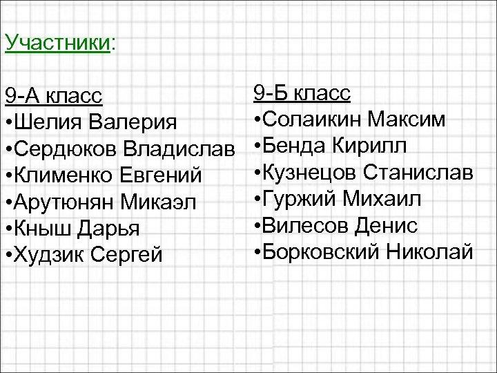 Участники: 9 -А класс • Шелия Валерия • Сердюков Владислав • Клименко Евгений •
