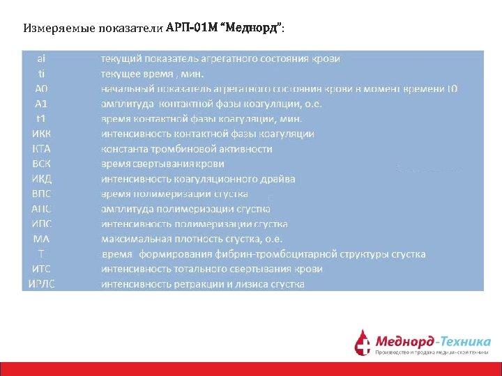 """Измеряемые показатели АРП-01 М """"Меднорд"""":"""