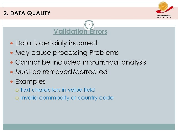 2. DATA QUALITY 7 Validation Errors Data is certainly incorrect May cause processing Problems