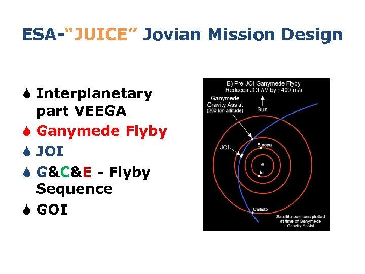 "ESA-""JUICE"" Jovian Mission Design S Interplanetary part VEEGA S Ganymede Flyby S JOI S"