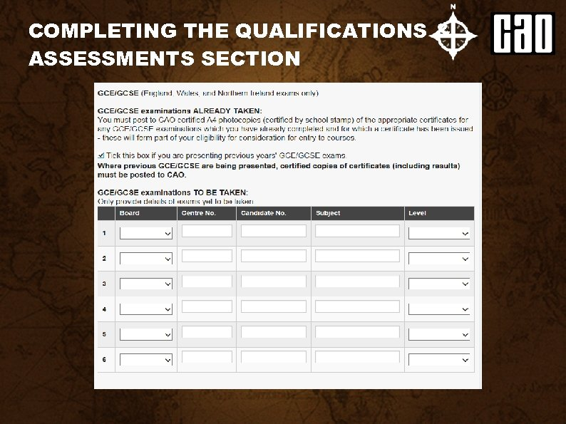 COMPLETING THE QUALIFICATIONS & ASSESSMENTS SECTION