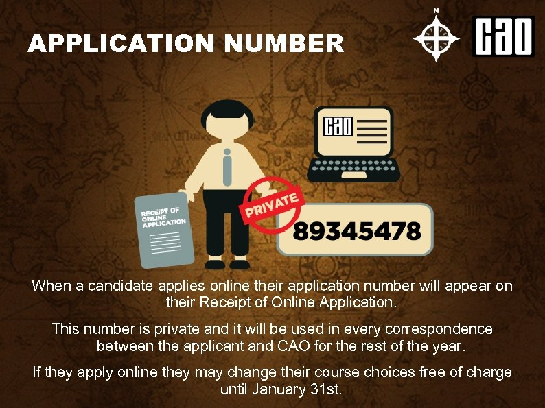 APPLICATION NUMBER When a candidate applies online their application number will appear on their