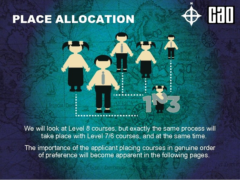 PLACE ALLOCATION We will look at Level 8 courses, but exactly the same process