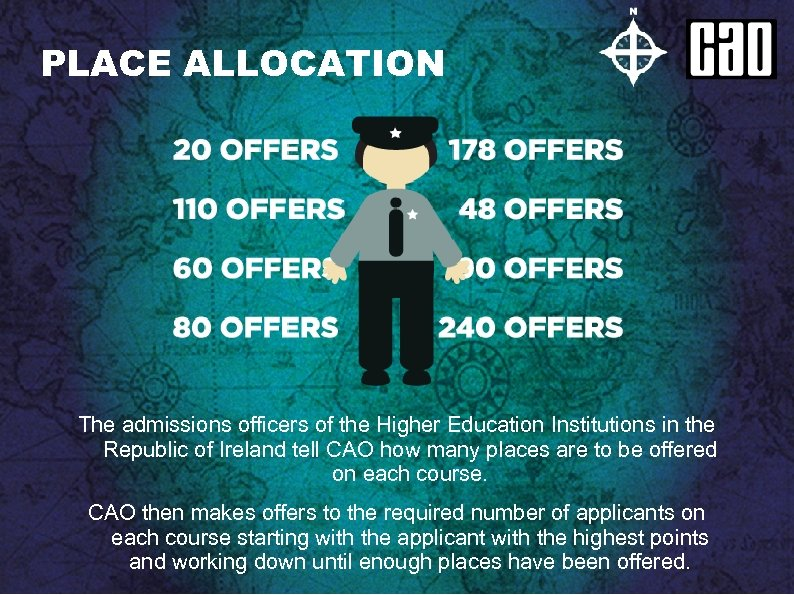 PLACE ALLOCATION The admissions officers of the Higher Education Institutions in the Republic of