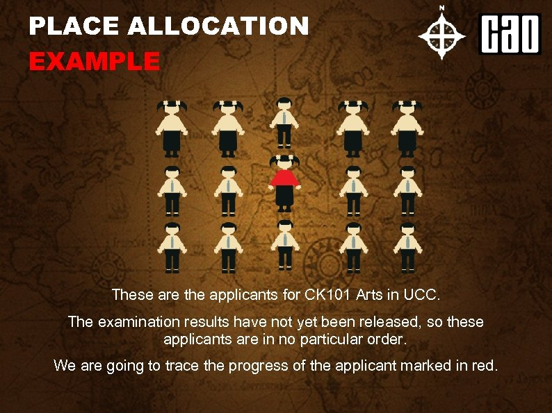 PLACE ALLOCATION EXAMPLE These are the applicants for CK 101 Arts in UCC. The