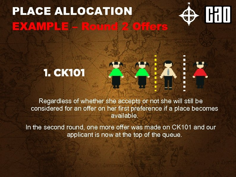 PLACE ALLOCATION EXAMPLE – Round 2 Offers Regardless of whether she accepts or not