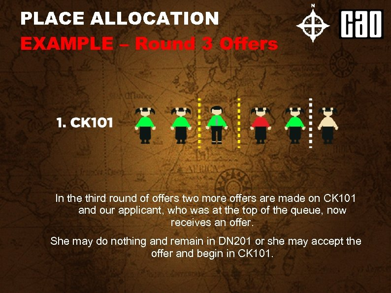 PLACE ALLOCATION EXAMPLE – Round 3 Offers In the third round of offers two