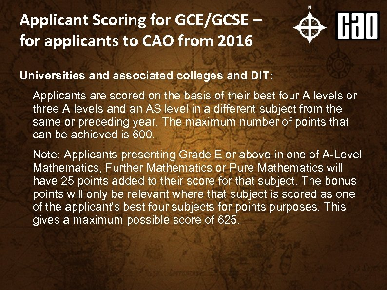 Applicant Scoring for GCE/GCSE – for applicants to CAO from 2016 Universities and associated
