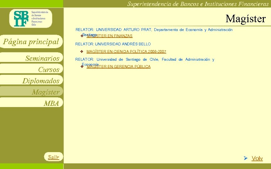 Superintendencia de Bancos e Instituciones Financieras Magíster Página principal RELATOR: UNIVERSIDAD ARTURO PRAT, Departamento