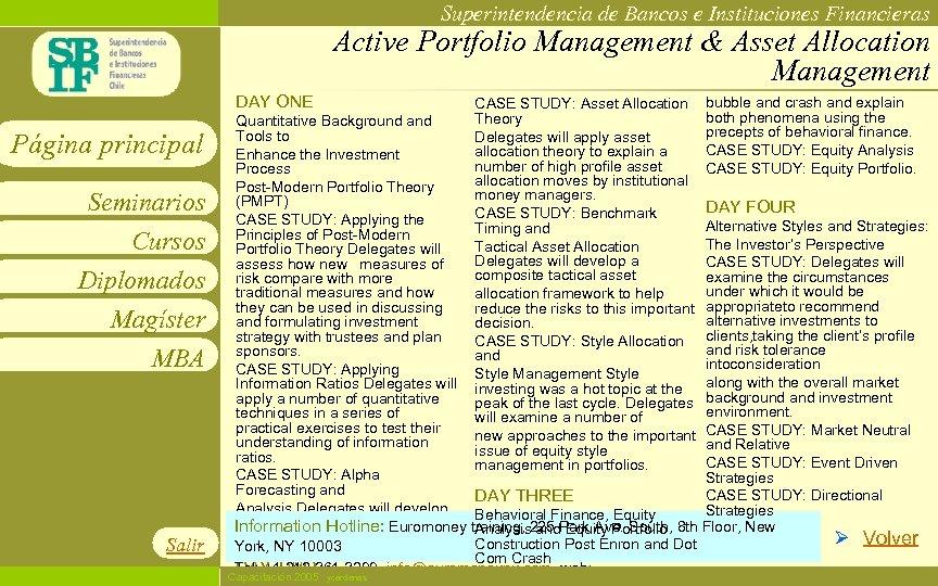 Superintendencia de Bancos e Instituciones Financieras Active Portfolio Management & Asset Allocation Management DAY
