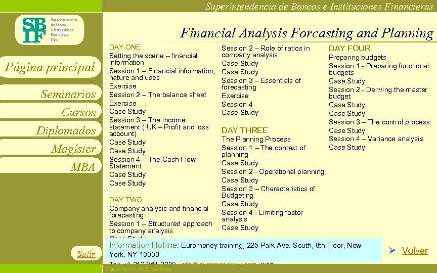 Superintendencia de Bancos e Instituciones Financieras Financial Analysis Forcasting and Planning Página principal Seminarios
