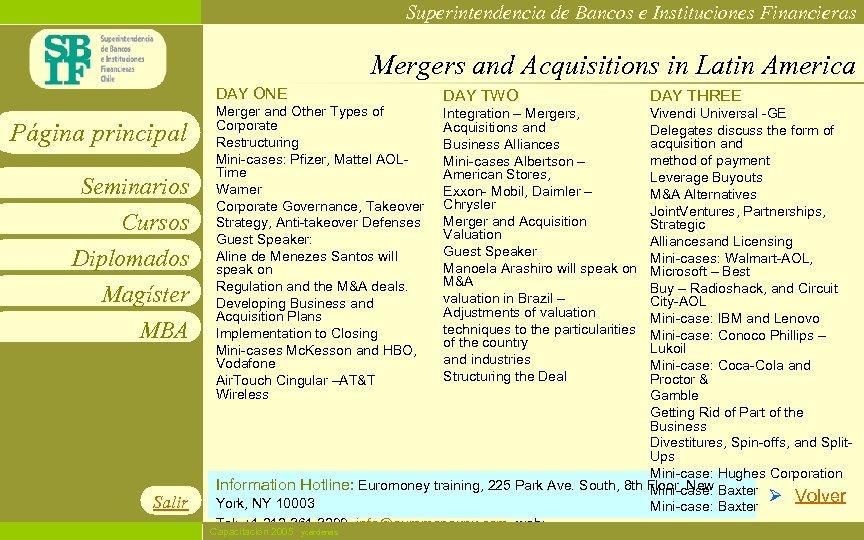 Superintendencia de Bancos e Instituciones Financieras Mergers and Acquisitions in Latin America DAY ONE