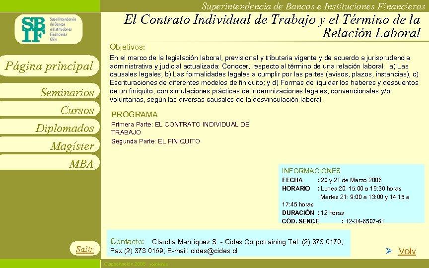 Superintendencia de Bancos e Instituciones Financieras El Contrato Individual de Trabajo y el Término