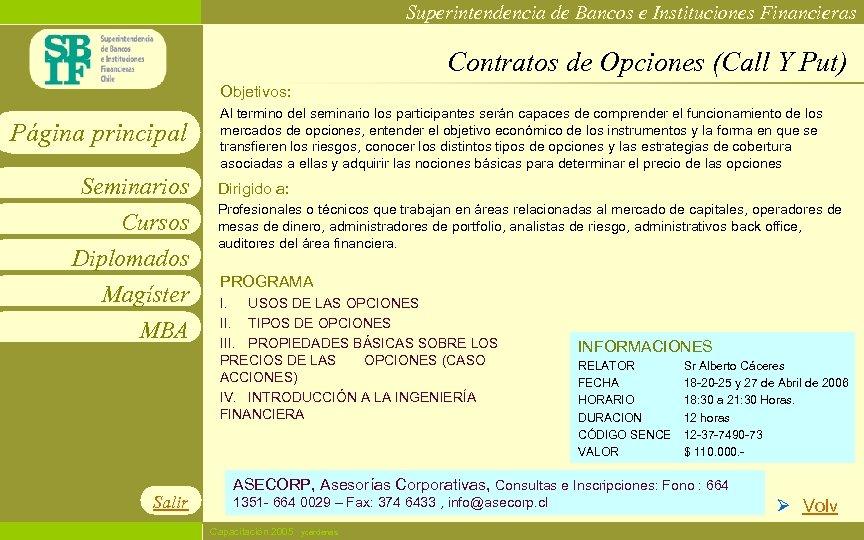 Superintendencia de Bancos e Instituciones Financieras Contratos de Opciones (Call Y Put) Objetivos: Página