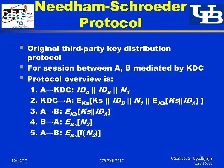 Needham-Schroeder Protocol § § § 10/19/17 Original third-party key distribution protocol For session between