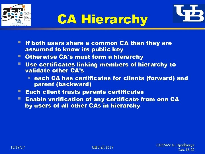 CA Hierarchy § § § 10/19/17 If both users share a common CA then