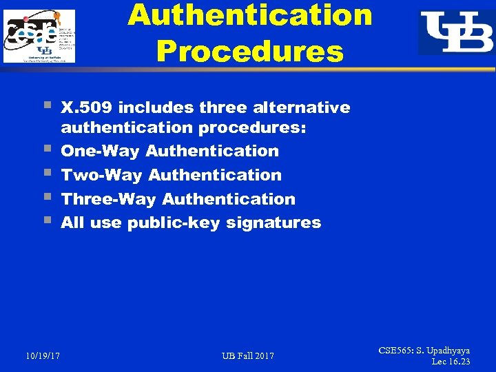 Authentication Procedures § § § 10/19/17 X. 509 includes three alternative authentication procedures: One-Way