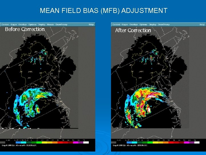 MEAN FIELD BIAS (MFB) ADJUSTMENT Before Correction After Correction