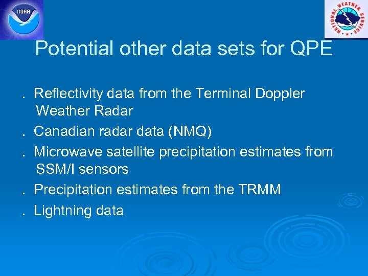 Potential other data sets for QPE. Reflectivity data from the Terminal Doppler Weather Radar.