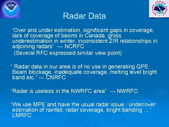 "Radar Data. ""Over and under estimation, significant gaps in coverage, lack of coverage of"
