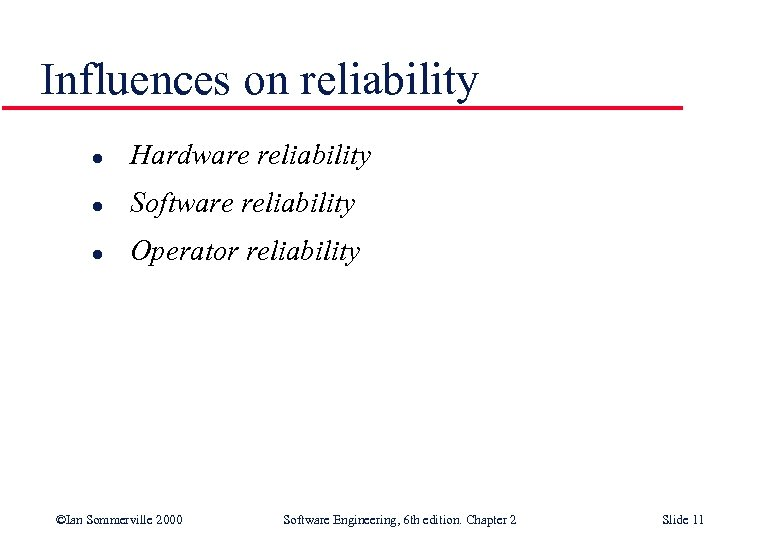 Influences on reliability l Hardware reliability l Software reliability l Operator reliability ©Ian Sommerville