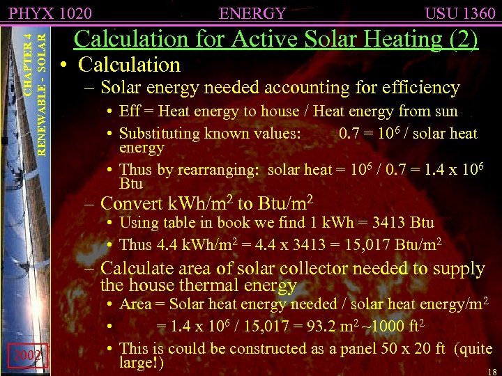 CHAPTER 4 RENEWABLE - SOLAR PHYX 1020 ENERGY USU 1360 Calculation for Active Solar