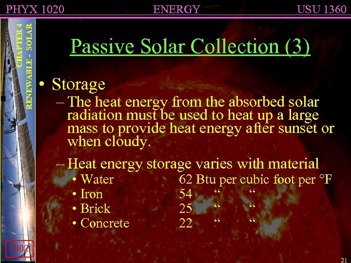 CHAPTER 4 RENEWABLE - SOLAR PHYX 1020 ENERGY USU 1360 Passive Solar Collection (3)