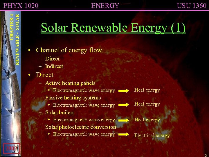 CHAPTER 4 RENEWABLE - SOLAR PHYX 1020 ENERGY USU 1360 Solar Renewable Energy (1)