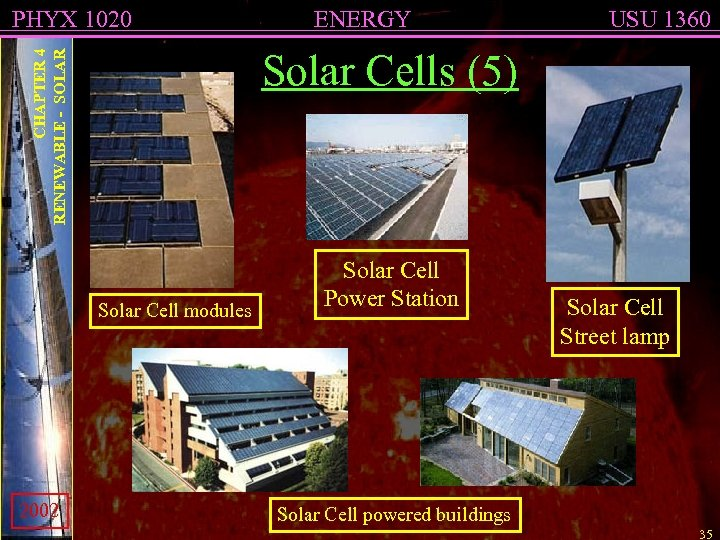 PHYX 1020 USU 1360 CHAPTER 4 RENEWABLE - SOLAR Solar Cells (5) Solar Cell