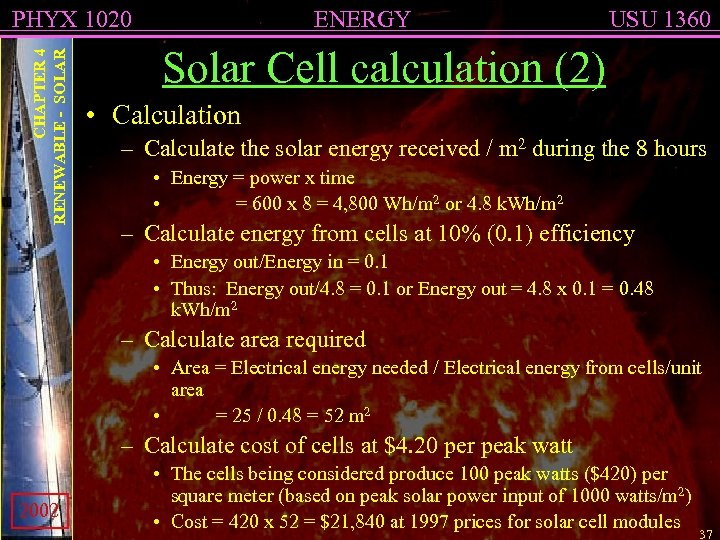CHAPTER 4 RENEWABLE - SOLAR PHYX 1020 ENERGY USU 1360 Solar Cell calculation (2)