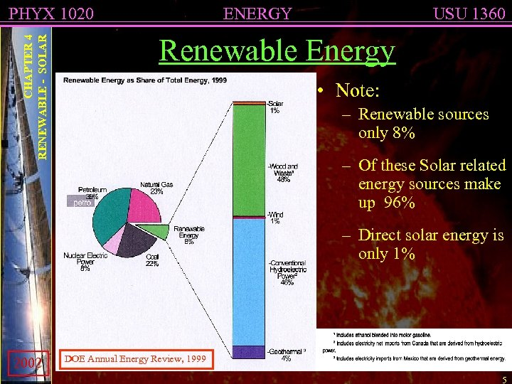 CHAPTER 4 RENEWABLE - SOLAR PHYX 1020 ENERGY USU 1360 Renewable Energy • Note: