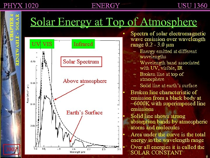 CHAPTER 4 RENEWABLE - SOLAR PHYX 1020 ENERGY Solar Energy at Top of Atmosphere