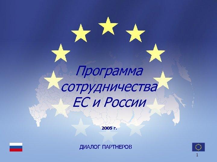 Программа сотрудничества ЕС и России 2005 г. ДИАЛОГ ПАРТНЕРОВ 1