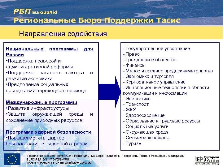 РБП Europe. Aid Региональные Бюро Поддержки Тасис Направления содействия Национальные программы для России •