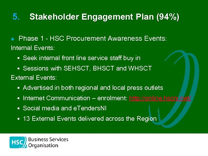 5. l Stakeholder Engagement Plan (94%) Phase 1 - HSC Procurement Awareness Events: Internal