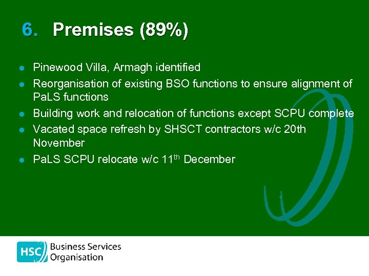 6. Premises (89%) l l l Pinewood Villa, Armagh identified Reorganisation of existing BSO