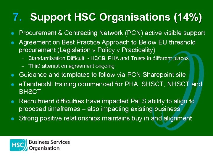 7. Support HSC Organisations (14%) l l Procurement & Contracting Network (PCN) active visible