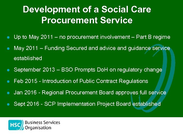 Development of a Social Care Procurement Service l Up to May 2011 – no