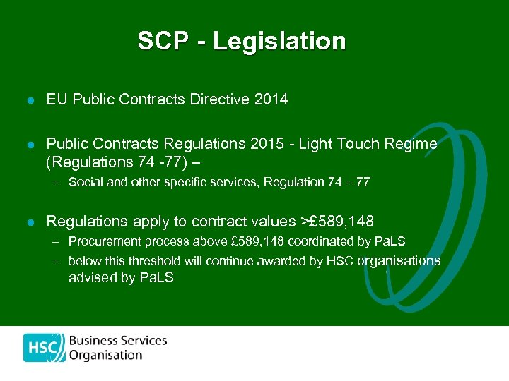 SCP - Legislation l EU Public Contracts Directive 2014 l Public Contracts Regulations 2015