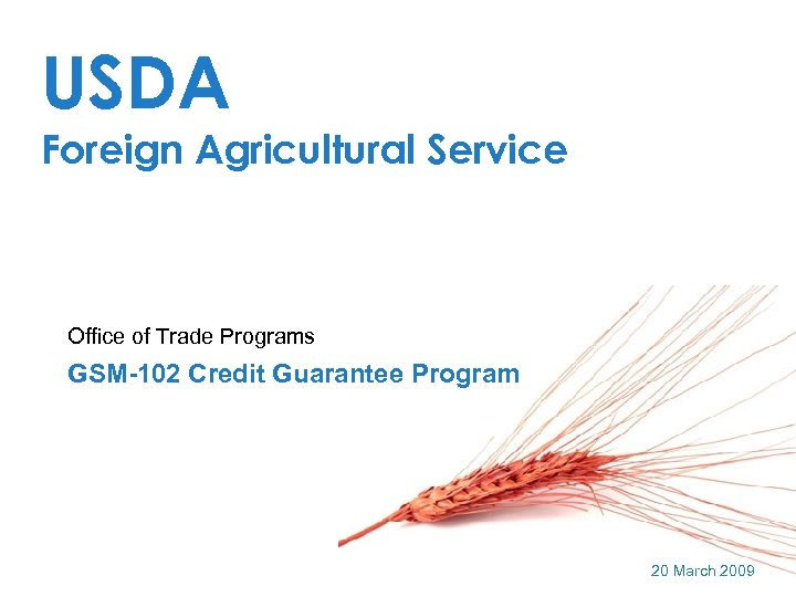 USDA Foreign Agricultural Service Office of Trade Programs GSM-102 Credit Guarantee Program 20 March
