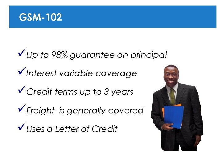 GSM-102 üUp to 98% guarantee on principal üInterest variable coverage üCredit terms up to