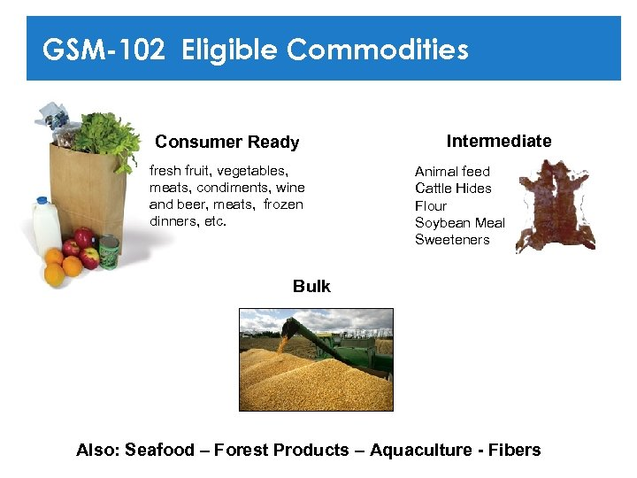 GSM-102 Eligible Commodities Consumer Ready fresh fruit, vegetables, meats, condiments, wine and beer, meats,