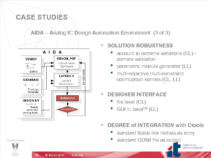 CASE STUDIES AIDA – Analog IC Design Automation Environment (3 of 3) • SOLUTION