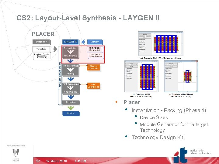 CS 2: Layout-Level Synthesis - LAYGEN II PLACER • Placer • • 17 19