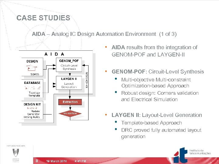 CASE STUDIES AIDA – Analog IC Design Automation Environment (1 of 3) • AIDA