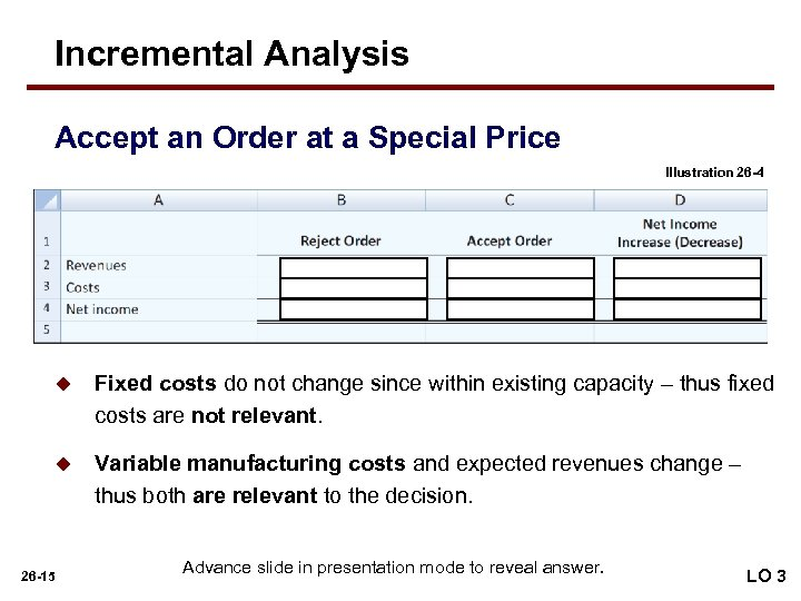 Incremental Analysis Accept an Order at a Special Price Illustration 26 -4 u Fixed