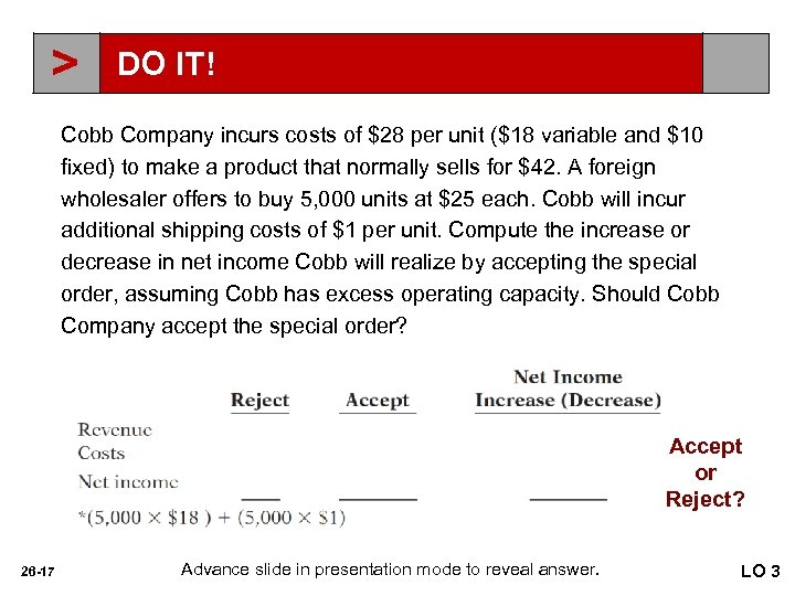 > DO IT! Cobb Company incurs costs of $28 per unit ($18 variable and